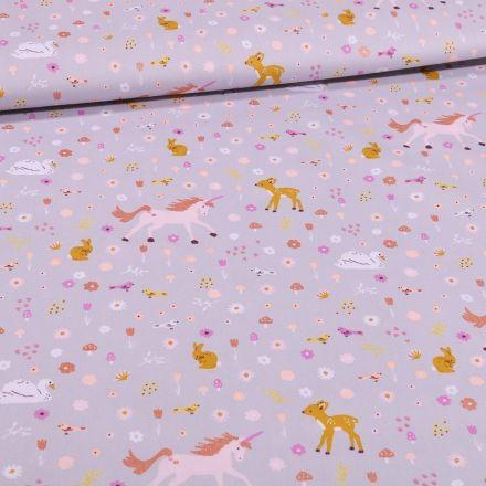 Tissu Coton imprimé Licornes et faons sur fond Gris - Par 10 cm