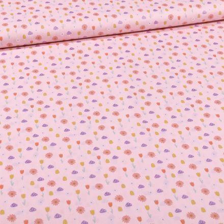 Tissu Coton imprimé Tulipes et pâquerettes sur fond Rose - Par 10 cm