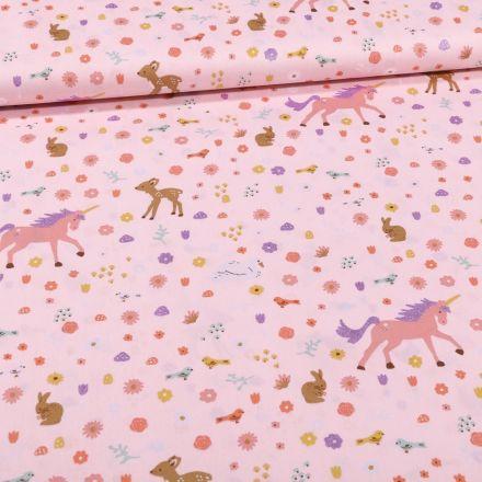 Tissu Coton imprimé Licornes et faons sur fond Rose - Par 10 cm