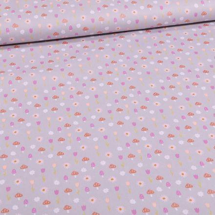 Tissu Coton imprimé Tulipes et pâquerettes sur fond Gris - Par 10 cm