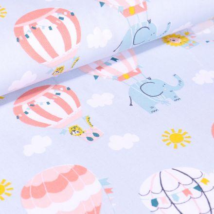 Tissu Coton imprimé LittleBird Montgolfière et animaux sur fond Bleu