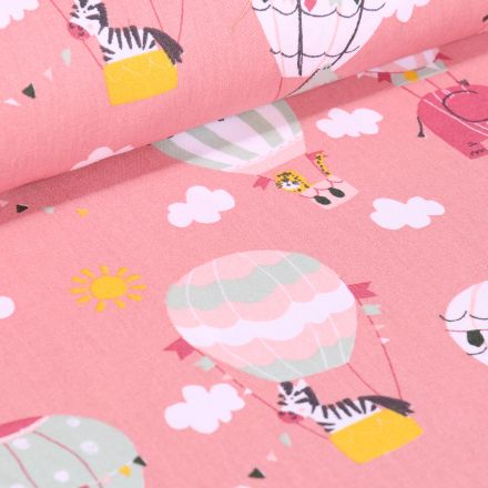 Tissu Coton imprimé LittleBird Montgolfière et animaux sur fond Rose