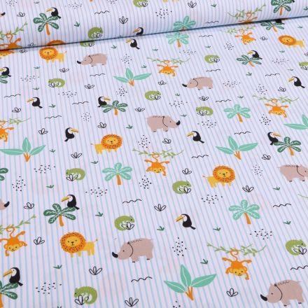 Tissu Coton imprimé Rayures vertes et animaux de la savane sur fond Blanc - Par 10 cm
