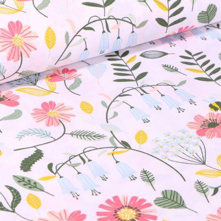 Tissu Coton imprimé Butinage de fleurs sur fond Blanc
