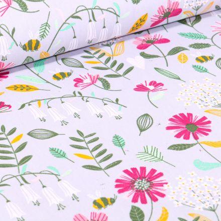 Tissu Coton imprimé Butinage de fleurs sur fond Gris