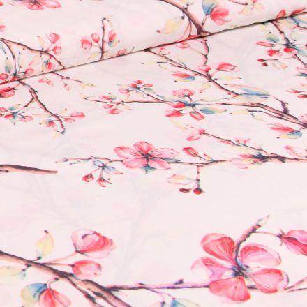 Tissu Satin Stretch Fleurs de cerisiers sur fond Blanc cassé