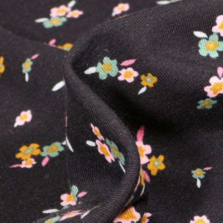Tissu Jersey Coton Lili sur fond Noir