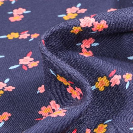 Tissu Jersey Coton Lili sur fond Bleu