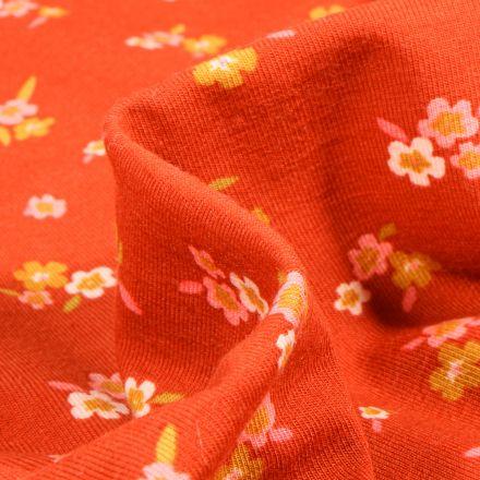 Tissu Jersey Coton Lili sur fond Orange