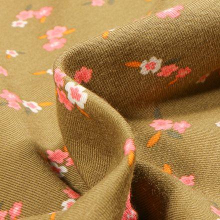 Tissu Jersey Coton Lili sur fond Vert kaki