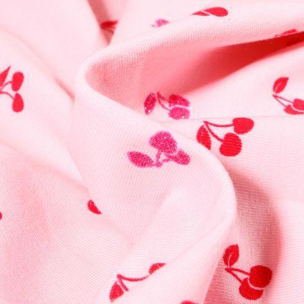 Tissu Jersey Coton Cerises sur fond Rose