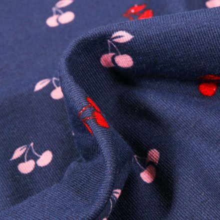 Tissu Jersey Coton Cerises sur fond Bleu marine