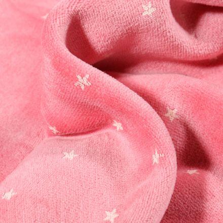 Tissu Jersey Velours tout doux Petites étoiles sur fond Rose