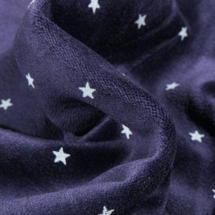 Tissu Jersey Velours tout doux Petites étoiles sur fond Bleu nuit