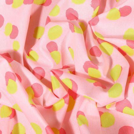 Tissu Coton imprimé LittleBird Confettis roses et verts sur fond Rose - Par 10 cm