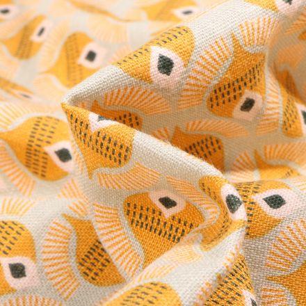 Tissu Lin Viscose Motif Dôme jaune sur fond Naturel