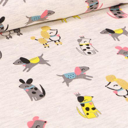 Tissu Jersey Coton Chiens Chic sur fond Beige chiné