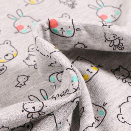 Tissu Jersey Coton Hello Lapinou sur fond Gris clair chiné