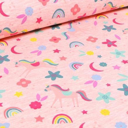 Tissu Jersey Polycoton Licornes fleurs et arc en ciel sur fond Rose chiné