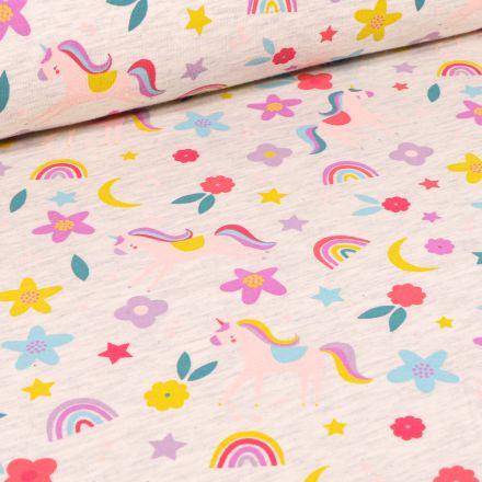 Tissu Jersey Polycoton Licornes fleurs et arc en ciel sur fond Beige chiné
