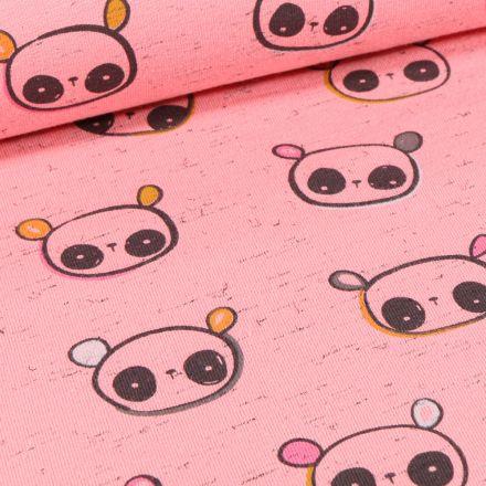 Tissu Jersey Coton Cutie Panda sur fond Rose chiné