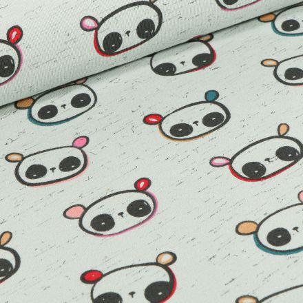 Tissu Jersey Coton Cutie Panda sur fond Vert chiné