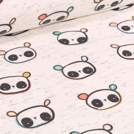 Tissu Jersey Coton Cutie Panda sur fond Beige chiné