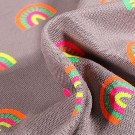 Tissu Jersey Coton Arc en ciel fluo sur fond Gris