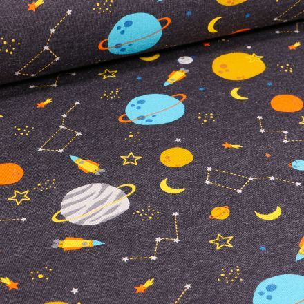 Tissu Jersey Coton Planètes et constellation sur fond Gris anthracite chiné