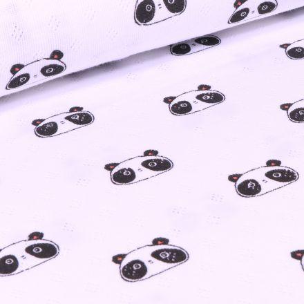Tissu Jersey ajouré  Têtes de Pandas sur fond Blanc