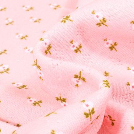Tissu Jersey ajouré Petites fleurs sur fond Rose