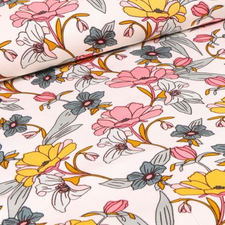 Tissu Viscose Twill extensible Fleurs pastels sur fond Blanc