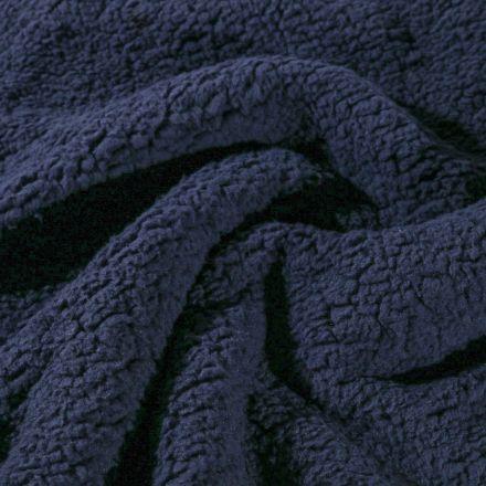 Fausse fourrure mouton Bleu marine - Par 10 cm