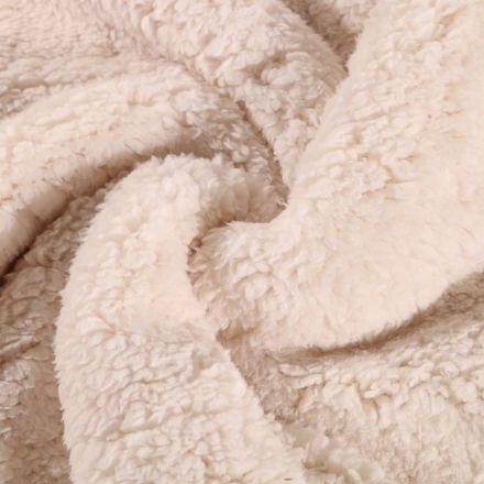 Fausse fourrure mouton Beige clair - Par 10 cm