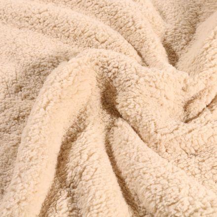 Fausse fourrure mouton Beige sable - Par 10 cm