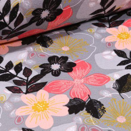 Tissu Jersey Coton envers molletonné Bio Grandes fleurs colorées sur fond Gris