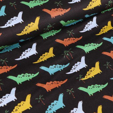Tissu Coton imprimé LittleBird Dinosaures colorés sur fond Noir