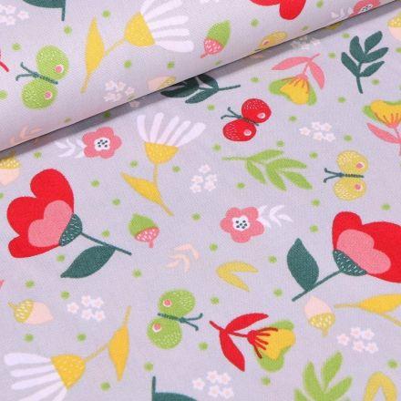 Tissu Coton imprimé LittleBird Lola sur fond Gris - Par 10 cm