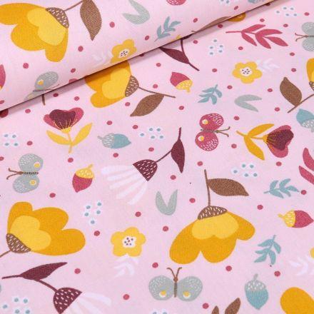 Tissu Coton imprimé LittleBird Lola sur fond Rose - Par 10 cm