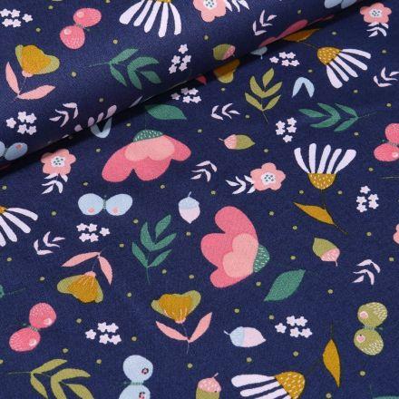 Tissu Coton imprimé LittleBird Lola sur fond Bleu marine - Par 10 cm