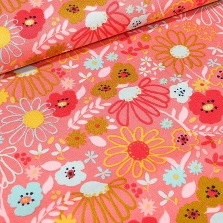 Tissu Coton imprimé LittleBird Fleurs des prés sur fond Corail - Par 10 cm