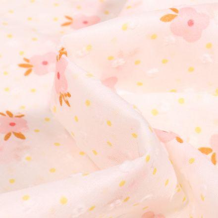 Tissu Plumetis Coton Fleurs colorées sur fond Blanc