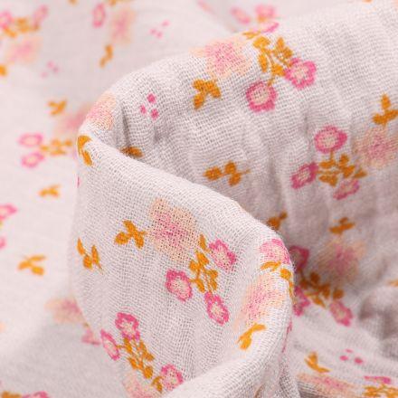Tissu Double gaze Bio Bouquets de fleurs sur fond Gris clair