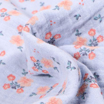 Tissu Double gaze Bio Bouquets de fleurs sur fond Bleu ciel