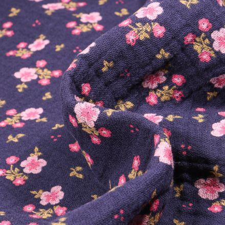 Tissu Double gaze Bio Bouquets de fleurs sur fond Bleu foncé