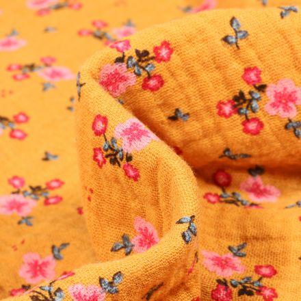 Tissu Double gaze Bio Bouquets de fleurs sur fond Jaune