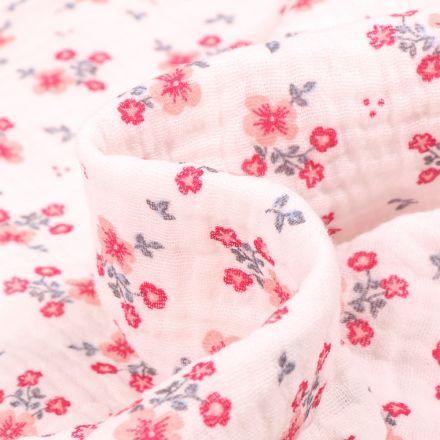 Tissu Double gaze Bio Bouquets de fleurs sur fond Blanc