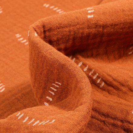 Tissu Double gaze Bio Pointillés sur fond Brique