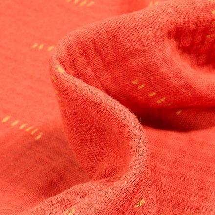 Tissu Double gaze Bio Pointillés sur fond Orange