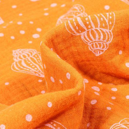 Tissu Double gaze Bio Coquillages et pois sur fond Orange